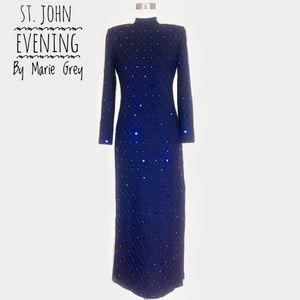 St. John Evening by Marie Grey Rhinestones Dress